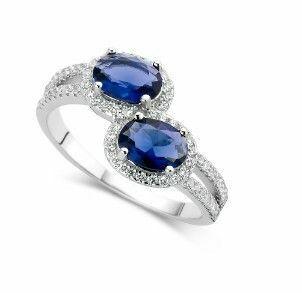 Silver Rose Ring R3044BLU